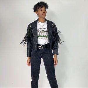 80's/90's Vintage Fringe Leather Biker Jacket